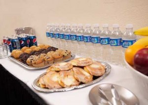 We offer a morning and afternoon refresher service customized to meet your needs with options like our ?Otis Spunkmeyer Cookie Mania? or ?Fresh Fruit and Granola Buffet?.